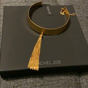Gorgeous Rachel Zoe gold tassel collar necklace